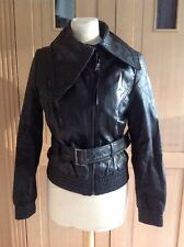 GREAT KAOS BY AULUNA BLACK LEATHER BOMBER JACKET UK SIZE 10 NWOT