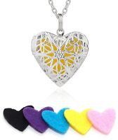 Diffuser Flower Essential Oil Heart Pendant Necklace DIY+5Pads Aromatherapy Gift