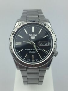 Seiko 5 Automatic Black Dial Silver Stainless Steel Men's Watch SNKE01K1