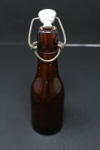 Antique Old Original Glass Beer Bottle With Lid Decorative Item Collectible Rare