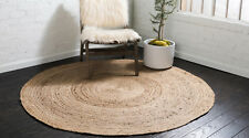 Natural Rug Braided Round Jute Area Rag 2x2 Feet Hardwood Floors Woven Rug
