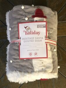 Pottery Barn Kids Heritage Santa Euro Sham Christmas Holiday Quilted Snowman