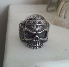 STAINLESS STEEL BIKER MOTORCYCLE PUNK VINTAGE SKULL MEN RING SIZE 13