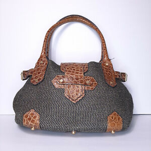 Eric Javits Natural Straw Brown Croc Leather Purse Bag Tote Alligator Woven Blac