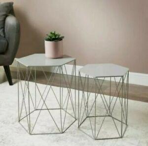 Malvern Set of 2 Grey Metal Hexagon Tables Home Decor Coffee / Side Table