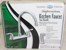 Two Handle Kitchen Faucet Side Sprayer Ceramic Cartridge Chrome Finish