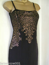 NEW £50 **SALE** JANE NORMAN SIZE 14 BLACK & GOLD GLITTER FRONT MIDI DRESS