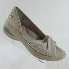 Bzees Remix Beige Stretch Fabric  d'Orsay Flats Comfort Shoes Peep Toe Size 7 W