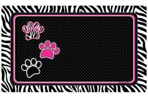 "Dog or Cat Placemat 12"" x 20""  Pet Mat Waterproof, Zebra Black"