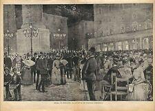 Stampa antica ROMA Piazza Colonna concerto notturno 1886 Old antique print Rome
