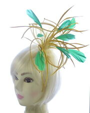 large Gold & Green comb   Fascinator Wedding Ladies Day ,Ascot