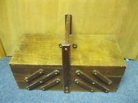 Vintage Accordion Wood Sewing Box