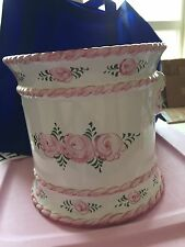 Pink Ceramic Waste Basket Vintage Cottage Decor Shabby Hp Roses Trash Can