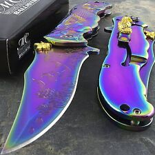 "9"" RAINBOW MERMAID OCEAN SPRING ASSISTED FOLDING KNIFE Blade Pocket Sea Fantasy"