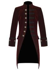 Men Steam punk Vintage Tailcoat Jacket Velvet Gothic Victorian Red Frock Coat