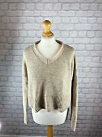 Topshop Beige Wool Mohair Blend Cropped Long Sleeved Jumper Size 12