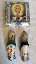 Vintage Hand Made Sewing Basket Kit & Pin Cushion Booties Made From Cards Croche