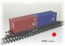 4768 Märklin - Wagon de containeur de DB, chargé avec  2 Container TFG, Neuf