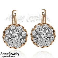 Solid 14k 585 Rose Gold Russian Style Genuine Diamond Malinka Earrings #E1358