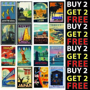 VINTAGE RETRO TRAVEL HOLIDAY POSTERS A4/A3 300GSM HIGH QUALITY GLOSS CARD
