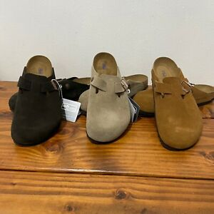 Birkenstock Boston Clogs Sandals Taupe Suede 11-11.5us 9.5uk 44eu