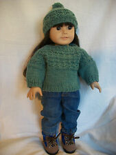 "18"" Doll Knitting Pattern will fit American Girl Gansey Sweater & Hat"