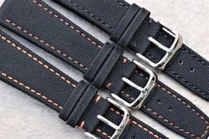 Handmade Dense Fabric Watch Strap Black Military/Aviator Style Durable Stitch