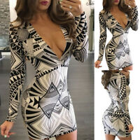 Women Plunging V-Neck Slim Fit Bodycon Dresses Ladies Party Mini Dress Clubwear