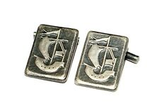 VINTAGE SOVIET PEWTER VIKING LONG BOAT CUFFLINKS  USSR