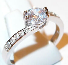 Simulated Diamond Solitaire in rhodium plated Sterling Silver, 1.500ct, Size P.