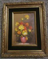 "Robert Cox Original Oil Painting Framed Flowers in Vase 5"" x 7"""