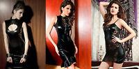 Sexy PVC Dress/Wet Look Black Party/Clubbing Mini Dress Size 8/10 10/12 12/14