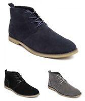 Men's Faux Suede Desert Boots Boys Casual Lace Up Ankle Chelsea Shoes