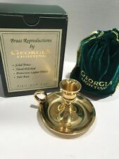 """BRASS REPRODUCTIONS CANDLESTICK WITH FINGER LOOP BY GA LIGHTING 3"""" X 4"""" NIB"""