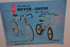 VINTAGE 1983 ROYCE-UNION BICYCLE BROCHURE/CATALOG! 10&12 SPEED MODELS! BMX! BIKE
