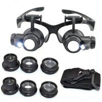 10/15/20/25X LED Eye Glasses Magnifier Jeweler Watch Repair Magnifying Loupe CHK