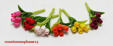Miniature Flowers Tulip in various color clay handcrafted 6 pieces 1:12 approx.
