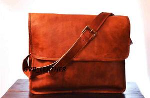 Men's Leather Half Flap Handbag Shoulder Laptop Satchel Messenger Vintage Bag