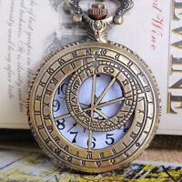 Neu Römische Zahlen Taschenuhr Quarz Ketteuhr Halskette Uhr 81.5cm Bronzefarben