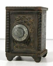 ca1890s CAST IRON COMBINATION FLOOR SAFE FIGURAL STILL BANK WITH ANGEL AND DOG