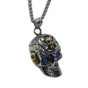 Stainless Steel Skull Pendant Necklace Steampunk Gift Men's Ladies silver gold