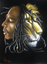 Bob marley music legend Iron Lion black velvet oil painting handpainted art