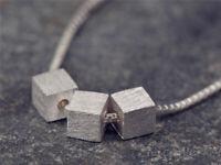 Silberkette mit Anhänger Würfel Schlicht Matt Halskette Damen 925 Silber Kette