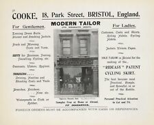 "1901 Bristol ""F. COOKE' 18 Park Street. Tailor. Shop Front. Original Ad A4.1598"