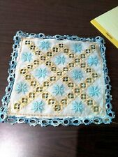 New listing Vintage Hand Crochet Table Cloth Dressing 15x15 bright colors Embroidered