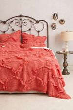ANTHROPOLOGIE Rivulets KING Quilt +4 Shams Berry/Pink Rose Comforter Bedding NIP
