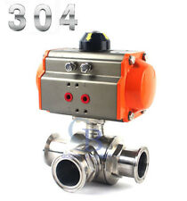 "1.5"" Sanitary Stainless 304 Three way T-port Tri-Clamp Pneumatic Ball Valve"