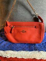 Coach Nolita Orange Pebble Grain Leather Chain Zip Hobo Bag Clutch Wristlet