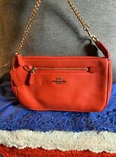 Coach Nolita Orange Pebble Grain Leather Chain Zip Handbag Clutch Wristlet