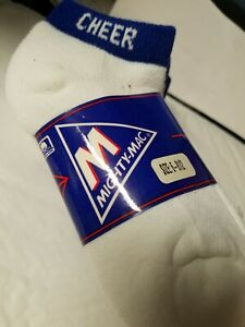 """Lot of  3  pair  """"cheer""""  Blue  band  SOCKS  - Youth   size  6 - 8 1/2"""